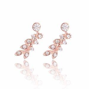 Cubic Zircon Crystal Leaves Gold Stud Earrings